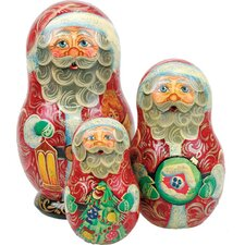 Russian 3 Piece Guardian Santa Nested Doll Set