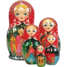 Russian 5 Piece Scarlet Flower Nested Doll Set