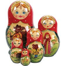 Russian 5 Piece Bear Tale Nested Doll Set
