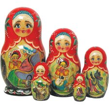 Russian 5 Piece Riding Hood Nested Doll Set