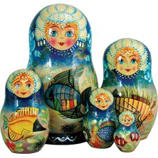 Russian 5 Piece Sea Princess Nested Doll Set
