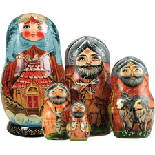 Russian 5 Piece Noah's Ark Nested Doll Set