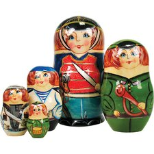 Russian 5 Piece Nutcracker Prince Nested Doll Set