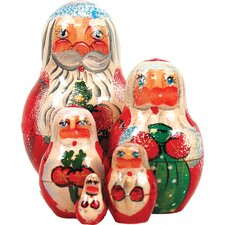 Russian 5 Piece Santa Nested Doll Set
