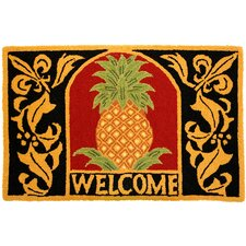 Kitchen Carefree Welcome Pineapple Gold/Black Rug