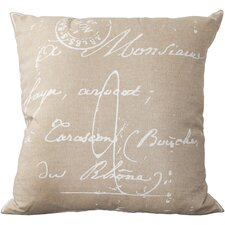 Classical French Script Cotton Throw Pillow