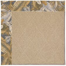 Zoe Cane Wicker Machine Tufted Crystal Blue and Beige Area Rug