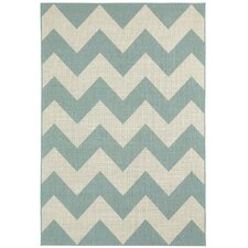 Elsinore Resort Blue Chevron Indoor/Outdoor Area Rug