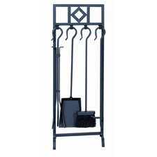4 Piece Wrought Iron Inline Fireplace Tool Set With Stand