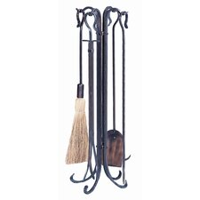4 Piece Copper Hammered Crook Fire Tool Set With Stand