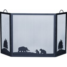 Deluxe Bear Wrought Iron Fire Fireplace Screen