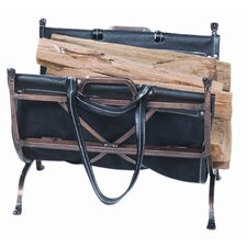 Antique Copper Log Rack with Canvas Carrier