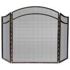 3 Panel Wrought Iron Arch Top Fireplace Screen