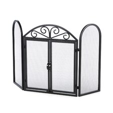 3 Panel Wrought Iron Fireplace Screen with Opening Doors