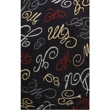 Symphony Black Abstract Swirls Area Rug