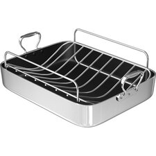 "18"" Polished Aluminum French Roaster with Rack"