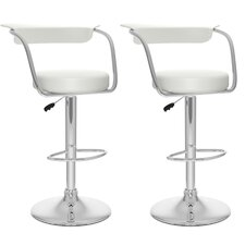 Adjustable Height Swivel Bar Stool with Cushion (Set of 2)