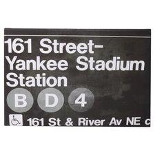 Yankee Stadium Night Textual Art on Wrapped Canvas