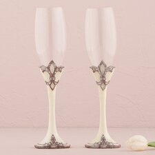Fleur De Lis Wedding Toasting Champagne Flute Glass (Set of 2)