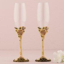 Vintage Rose Wedding Toasting Champagne Flute Glass (Set of 2)