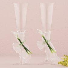 Bridal Beauty Calla Lily Wedding Champagne Flute Glass (Set of 2)