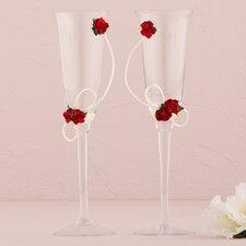 Flower of Love Wedding Toasting Flute Glass (Set of 2)