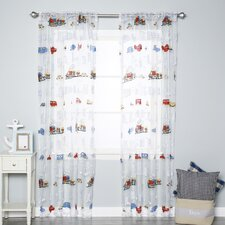 Kids Car and Train Print Sheer Rod Pocket Curtain Panels (Set of 2)