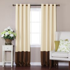 Colorblock Thermal Insulated Grommet Top Blackout Curtain Panels (Set of 2)