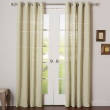 Embroidered Grommet Top Curtain Panel (Set of 2)