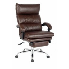 High-Back Leather Executive Office Chair with Double Thick Padded Headrest and Armrest