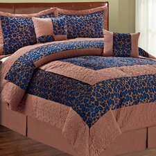 Safari Blue Fall Cheetah 6 Piece Comforter Set