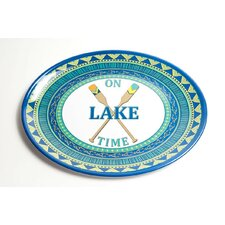 Yacht and Home On Lake Time Melamine Oval Platter