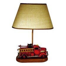 """Antique Fire Engine 22"""" H Table Lamp with Empire Shade"""
