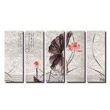 Painted Petals Xl 5 Piece Graphic Art on Wrapped Canvas Set