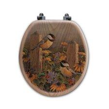 Linda's Chickadees Oak Round Toilet Seat