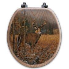 November Whitetail Deer Oak Round Toilet Seat