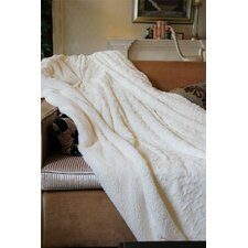 Luxury Roses White PV Faux Fur with Sherpa Throw Blanket