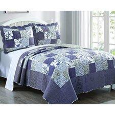 3 Piece Plaid Floral Blueberry Patch Quilt Set (Set of 3)