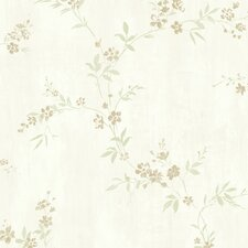"Floral Traditional Classic Metallic Modest 32.97' x 20.8"" Wallpaper"