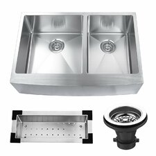 "33"" x 22.25"" Stainless Steel Double Bowl Farmhouse Kitchen Sink"