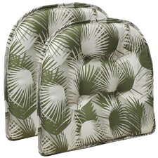 Palm Leaves Gripper Tufted Chair Cushion (Set of 2)