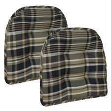 South Haven Plaid Gripper Tufted Chair Cushion (Set of 2)