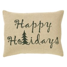 Evergreen Happy Holidays Cotton Pillow Cover