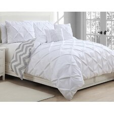 Ella Pinch Pleat 5 Piece Reversible Duvet Cover Set