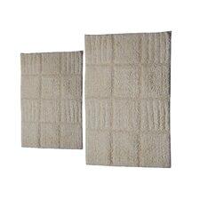 Castle 2 Piece 100% Cotton Chakkar Board Spray Latex Bath Rug Set