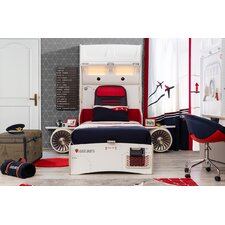 First Class Airplane Twin Storage Bed with Headboard Storage and Two Airplane Motor and Wings