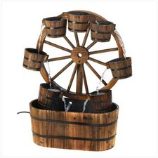 Wooden Wagon Wheel Fountain