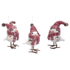 3 Piece Christmas Bird Ornament Set