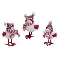 3 Piece Christmas Bird Figurine Set
