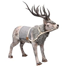 Decoupage Reindeer with Faux Fur Figurine (Set of 2)